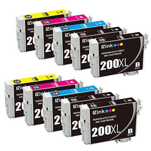 E-Z Ink Remanufactured Ink Cartridge Replacement for Epson 200XL 200 XL (4 Black, 2 Cyan, 2 Magenta, 2 Yellow 10 PACK) Compatible with XP-200 WF-2540 XP-300 WF-2530 XP-410 WF-2520 XP-400 XP-310