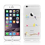 "iPhone 6s Case, iPhone 6 Clear Case, JAMMYLIZARD Invisible Gel Sketch Clear Design Back Cover for iPhone 6 / 6s 4.7"", Birds"