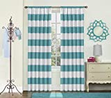 Eclipse Kids Curtains Eclipse 15942042X063TEL Peabody Window Curtain Panel,Teal,42x63