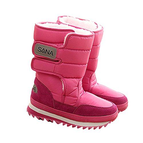 Mi D'hiver Pour Xianshu Bottes Femmes mollet Neige De Chaussures Rose Antidrapantes RF8fwnqxX