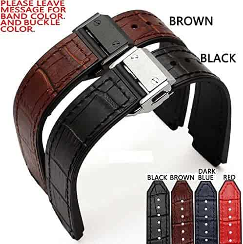 Zhuolei 21x15mm Women Tank Croco Leather Watch Band Strap Fit for Hublot Style