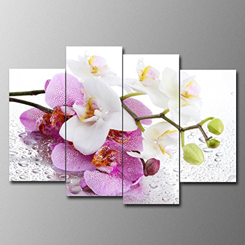 SureArt Framed Canvas Painting, Modern Wall Art Home Deco,White Orchid Photo Panels-4 PCS (White Orchid Panel)