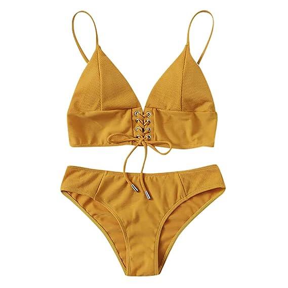 HCFKJ Traje De BañO Mujer Sexy Conjunto De Bikini De Color ...