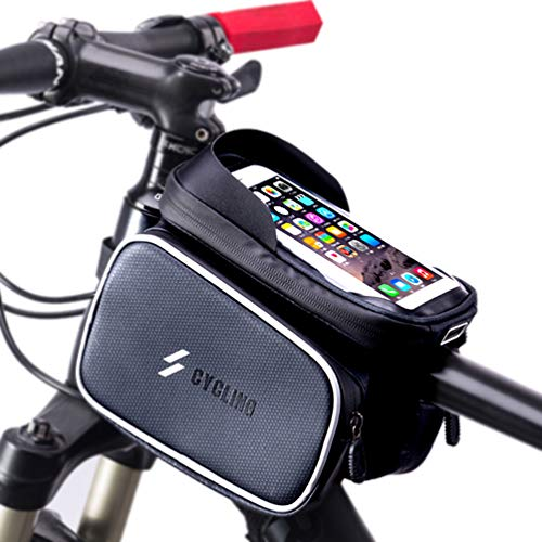 Longteng Bike Frame Bag, Waterproof Top Front Tube Bike Bag Sensitive Touch Screen Bike Phone Bag with Detachable Velcro Design and Lndependent Storage Space Design for Cellphone Below 6.0 Inches