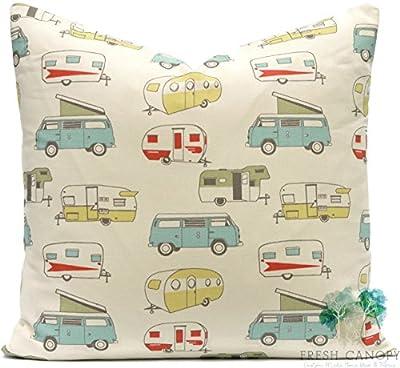Blue and Saffron Retro Camper - Premier Prints Vintage Camper Formica/Macon Pillow Cover - 20 Different Sizes - Bottom Invisible Zipper Closure