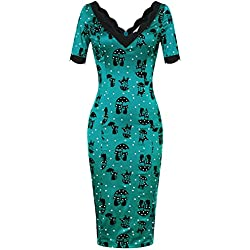 MUXXN Women's 50s Jade Cat Casual Pencil Dress in Blue(S,Blue)
