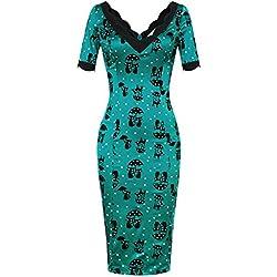 MUXXN Women's 50s Jade Cat Casual Pencil Dress in Blue(S,Blue)
