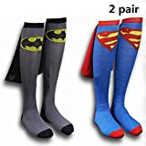 Hero-Theme Cape Knee High Socks 2 Pair Superman Batman for Men Women Couple Halloween Party Costume Daily
