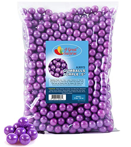 Purple And Gold Candy Buffet (Purple Gumballs for Candy Buffet - Apx. 620 Gumballs - 2 Pounds - Mini Shimmer Gumballs - Purple Candy -1/2 Inch , Bulk)