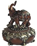 6.25 Inch Thai Elephant Woodlike Design Figurine