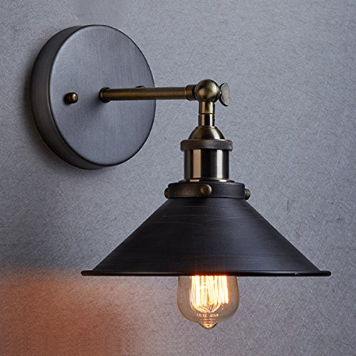 CLAXY® Ecopower Industrial Edison Simplicity 1 Light Wall Lamp Aged Steel Finished