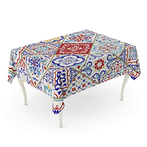 Emvency Rectangle Tablecloth 60 x 102 Inch Blue Traditional Ceramic Colorful Patchwork Vintage Multicolor Pattern in Turkish Endless Linoleum Red Flower Table Cloth