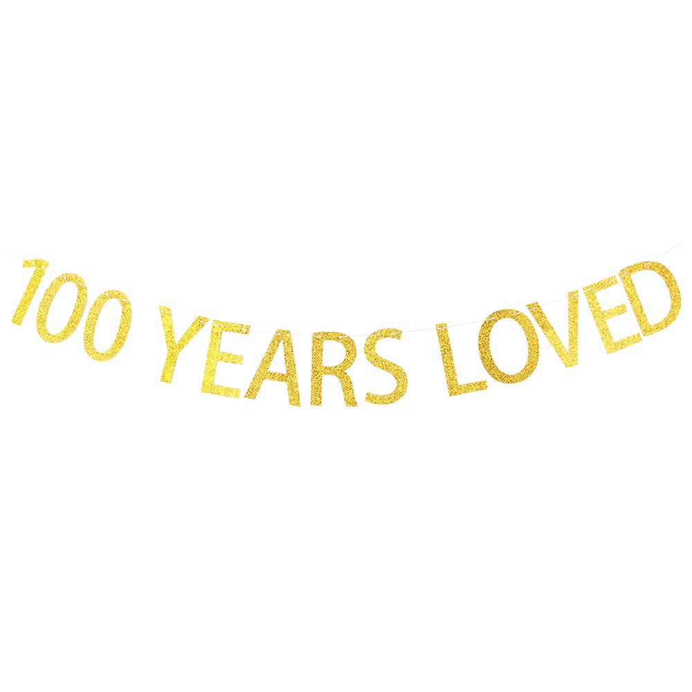 100 Years Loved Gold Glitter Banner for 100th Birthday, Wedding Anniversary Party Bunting Photo Props Decorations WeBenison