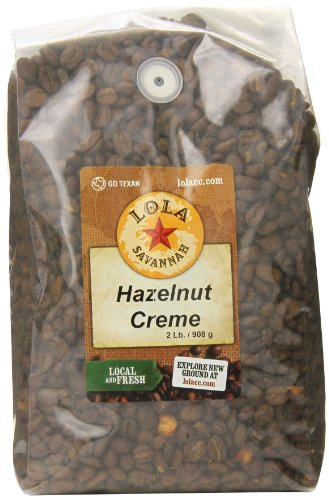 Lola Savannah Hazelnut Crème Whole Bean Coffee - Arabica Beans Flavored with the Sweet Buttery Essence of Hazelnuts | Caffeinated | 2lb Bag