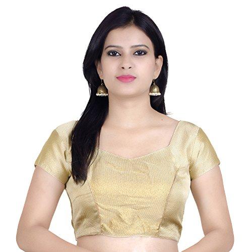 Chandrakala Women's Designer Bollywood Readymade Beige Saree Blouse Padded Brocade Choli (B106BEI1) by Chandrakala