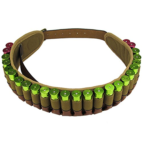 Tourbon Hunting Adjustable 12 Gauge Shotshell Holder Cartridge Belt - Canvas and Leather