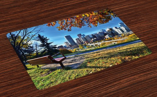 Ambesonne City Place Mats Set of 4, Park Bench Overlooking The Skyline of Calgary Alberta During Autumn Tranquil Urban, Washable Fabric Placemats for Dining Room Kitchen Table Decor, Multicolor (Dining Tables Calgary Room)