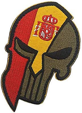 Parche bordado con diseño de calavera y casco de espartano de la bandera de España: Amazon.es: Juguetes y juegos