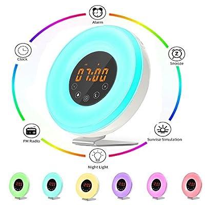 Wake Up Light,Myguru Alarm Clock with Sunrise Simulation,7 Colors LED Night Light Mood Light Bedside Lamp,Snooze Function &FM Radio