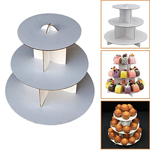 Adorox 3-Tier (12W x 10H) White Round Cardboard Cupcake Stand Dessert Tower Treat Stacker Pastry Serving Platter Food Display (Round Stand (1Pc))