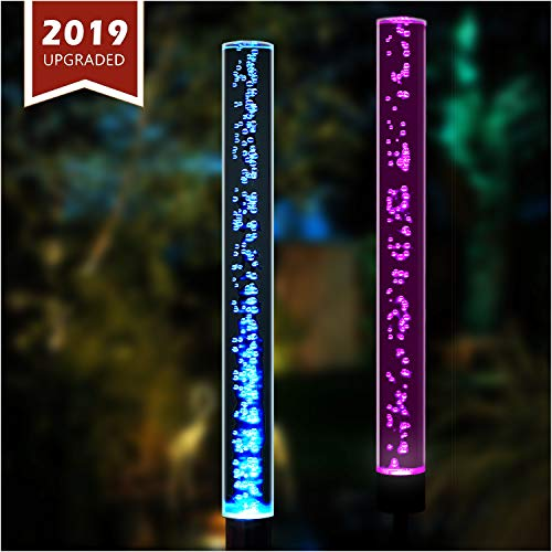 TONULAX Solar Lights Outdoor – New Upgraded Garden Decor Lights, Color Changing Acrylic Bubble Lights, Solar Powered Garden Stake Lights for Patio,Yard Decoration,Large Solar Panel (2 Pack)