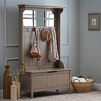 Amazoncom Hall Storage Bench Gray Entryway Hall Tree Seat Coat