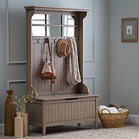 Hall Storage Bench Gray Entryway Hall Tree Seat Coat Rack Office Den With  Mirror