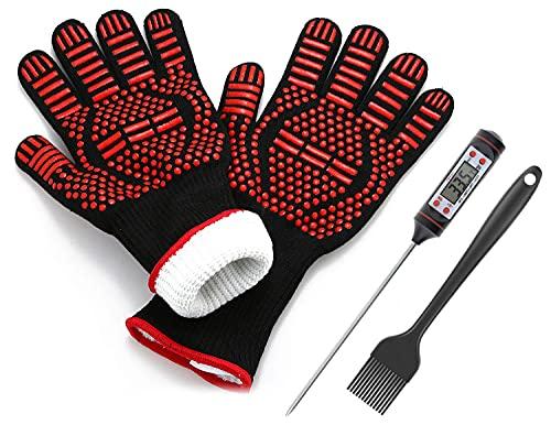JATrade Grillhandschuhe Ofenhandschuhe inkl. Grillthermometer u. Marinierpinsel, Backhandschuhe Topfhandschuhe für Grill…