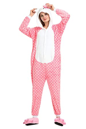 Invierno Cálido Franela Onesie pijama adulto Unisex una pieza rosa lunares Hello Kitty pijama, azul