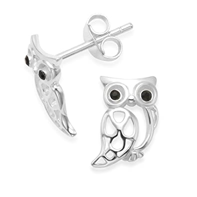 Heather Needham Silver Owl Earrings - Size: 8mm. Gift boxed owl stud earrings. 5090/B41HN PV8yP7GlBK