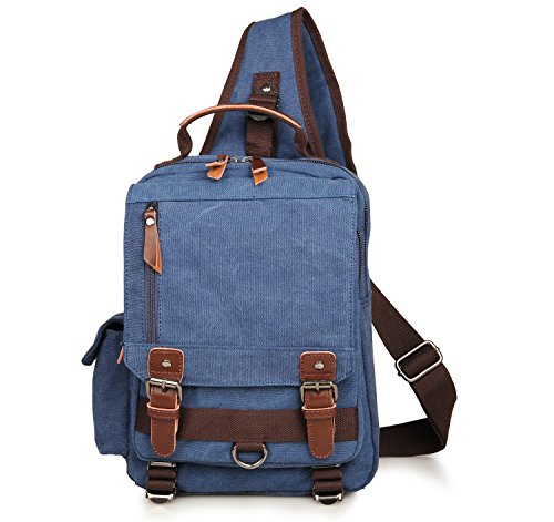 Meoaeo Canvas Chest Bag Shoulder Leisure Blue Utility Men's TIgqIRr
