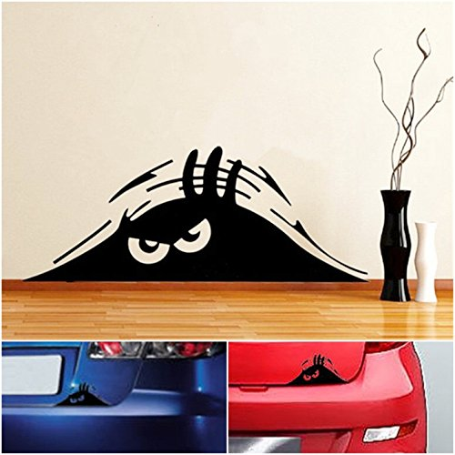 1 Pc Amazing Unique Funny Peeking Monster Window Sticker Vinyl Emblem Scary Eyes Walls Graphic Luggage Hoverboard Wall Macbook Patches Bike Decor Home Room Art Pets Family Stickers Decal Colors Black