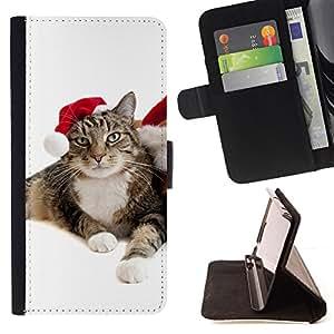 BullDog Case - FOR/Sony Xperia m55w Z3 Compact Mini / - / cat christmas elf mongrel blue eyes photo /- Monedero de cuero de la PU Llevar cubierta de la caja con el ID Credit Card Slots Flip funda de cuer