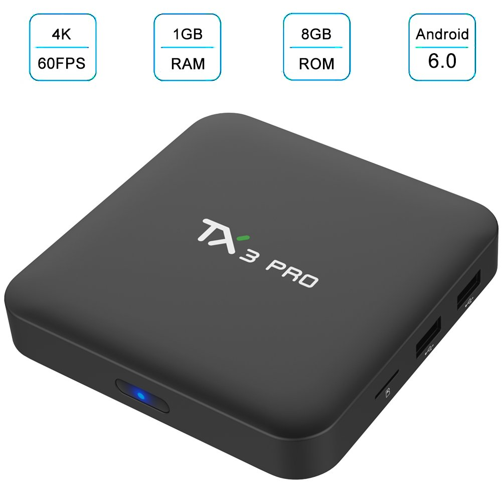 Fxexblin Tx3 Pro Android 6.0 Amlogic S905X 1GB 8GB 4K HD 64BIT 2.4GHz WiFi TV Box by Fxexblin