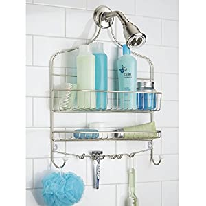 MDesign Wide Shower Caddy, Storage For Shampoo, Conditioner, Soap    Satin/White
