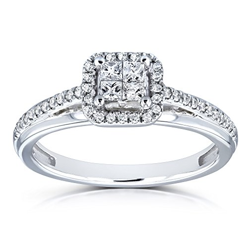 Diamond Cathedral Setting 1/4 Carat TW Invisible-set Princess and Halo Engagement Ring in 10k White Gold - Size 11 ()