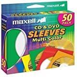 Maxell 190134 CD & DVD Paper Storage Envelope Sleeves with Clear Plastic Windows Multi-Color 50 Pack (Paper)