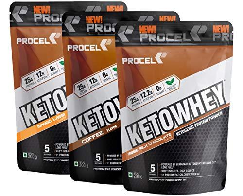 PROCEL KETOWHEY Keto Protein Shake with Coconut Oil & MCTs 200g x 3 Trial Packs (Swiss Chocolate, Coffee & Mango Lassi)
