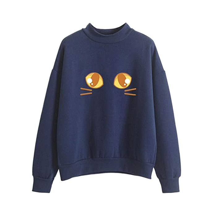 Blusa Mujer Lonshell Otoño Invierno Moda Sólido O- Cuello de Manga Larga Gato Suelto Impreso Sudadera Blusa Tops T-Shirt Jersey: Amazon.es: Ropa y ...