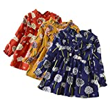 Baby Girls Dress, Deloito Floral Princess Dresses Toddler Kids Infant Baby Girl Print Long Sleece Flower Dress Outfits Dancing Dresses Clothes Age 1-5 Years Old (Yellow, 3XL(4T))