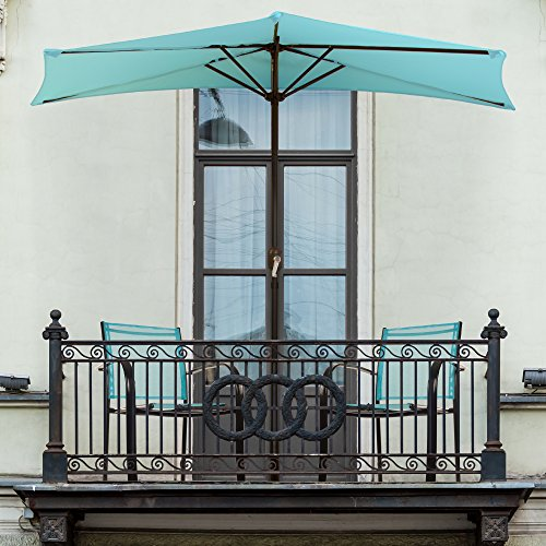 (Pure Garden 9' Half Round Patio Umbrella, Blue)