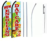 Now Enrolling Daycare Standard Size Swooper Feather Flag Sign with Full Assembly Pole and Ground Spike Pk of 2