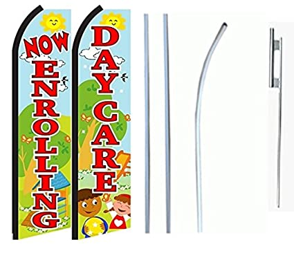 amazon com now enrolling daycare standard size swooper feather flag