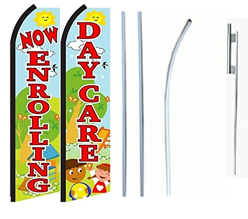Now Enrolling Daycare Standard Size Swooper Feather Flag Sign with Full Assembly Pole and Ground Spike Pk of 2 by Business Needs