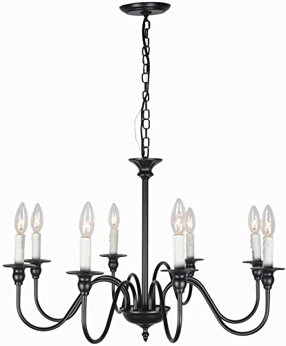 Baiwaiz Rustic Black Chandelier Lighting, Metal Vintage Candle Chandelier Industrial Farmhouse Pendant Light for Dining Room Living Room 8 Lights Edison E12 091