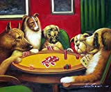 100% Hand Painted Dogs Playing Poker Cards Americana Canvas Home Wall Art Oil Painting by Well Known Artist, Framed, Ready to Hang