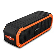 Waterproof Speaker, Archeer Wireless Bluetooth 4.0 Speaker Shockproof Waterproof Outdoor, Dual 5W Drivers Up to 12 Hour Playtime, for iPhone 6 6s Plus Galaxy S5 S6 Edge Note 5(Orange)