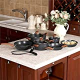 Kitchen Academy 12 Piece Nonstick Granite-Coated Cookware Set Suitable for All Stove Including Induction - Bakelite Handle With Wood Effect (Soft Touch)