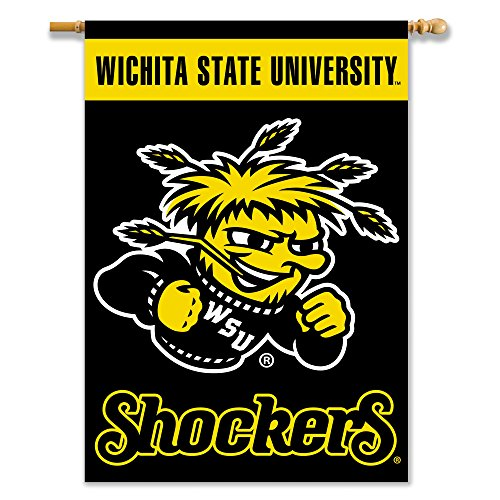 NCAA Wichita State Shockers 2-Sided Banner with Pole Sleeve, 28 x 40-Inch, Team - 40 2 Banner Side Inch