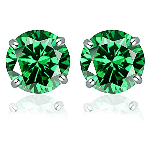 4mm Emerald Stud Earrings - 14k Solid White Gold 4mm Round-Cut Emerald CZ Stud Earrings by Orchid Jewelry